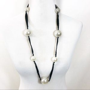 Jewelry - Long Ribbon and Large Pearl Necklace